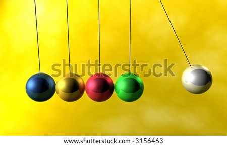 colorful newton cradle pendulums - stock photo