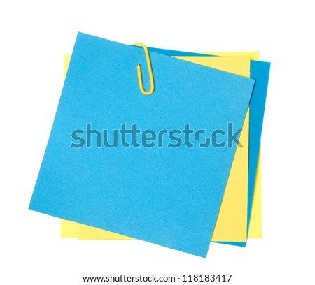 Colorful note paper with clips isolated on white - stock photo