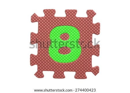 """Colorful number puzzle. Alphabet puzzle pieces isolated on white background. Number learning block for children education. The number  """"8"""" is a set of alphabet made in the form of a puzzle,Easy to cut - stock photo"""