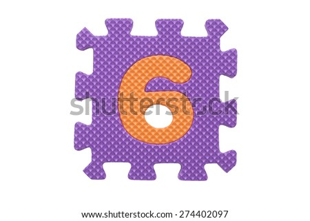 """Colorful number puzzle. Alphabet puzzle pieces isolated on white background. Number learning block for children education. The number  """"6"""" is a set of alphabet made in the form of a puzzle,Easy to cut - stock photo"""