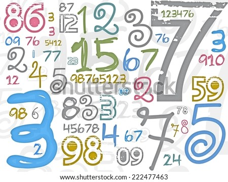 colorful numbers background or texture - stock photo