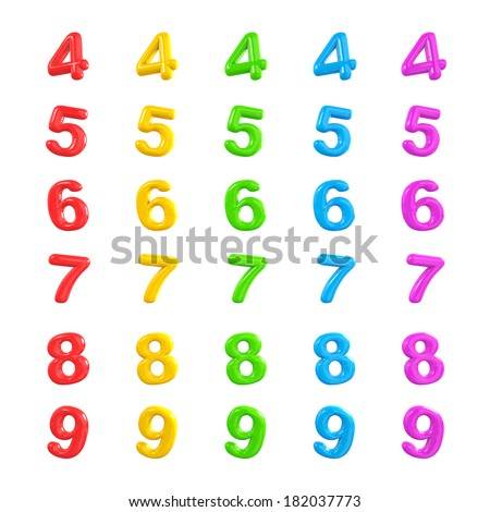 Colorful Numbers 3D Balloons 4-9 - stock photo