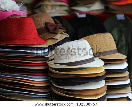 colorful of many hats - stock photo