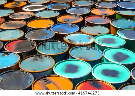 Colorful of oil barrels or chemical steel drums  - stock photo