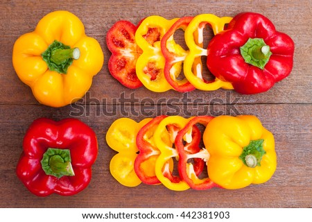 colorful of paprika on a wood background - stock photo