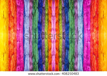 colorful of raw multicolored silk thread background - stock photo