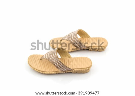 Colorful of Sandals shoes on white background. - stock photo