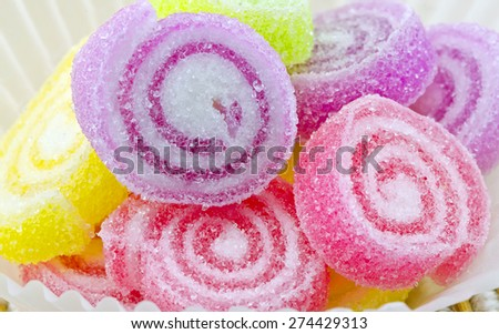 Colorful of sweet  jelly candies in the paper cup,close up view,shallow DOF. - stock photo