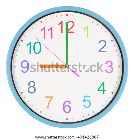 Colorful office clock showing nine o'clock isolated on white background - stock photo