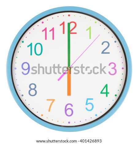 Colorful office clock showing six o'clock isolated on white background - stock photo
