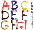 Colorful oil painted alphabet, Letters A - I - stock photo