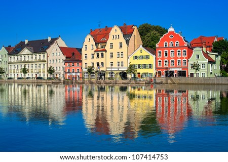 Colorful old gothic german town near Munich on a river Isar - stock photo