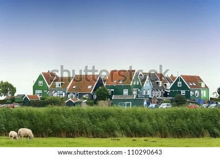 Colorful old houses in Marken, the Netherlands - stock photo