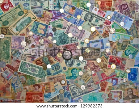 Colorful old World Paper Money background  coins - stock photo