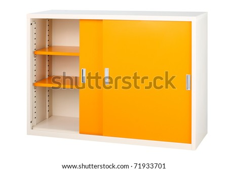 Colorful orange cabinet a nice steel office furniture isolated - stock photo