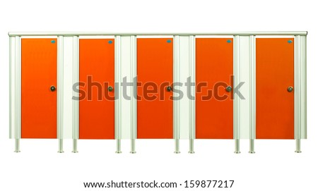 Colorful orange restroom stall doors isolated on white background  - stock photo