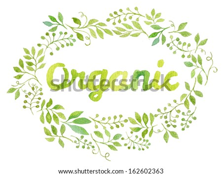 Colorful ORGANIC text in watercolor leaves frame  - stock photo