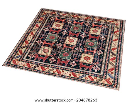 Colorful oriental carpet isolated in white background - stock photo