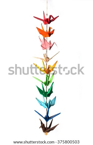 Colorful origami birds on a white background. - stock photo