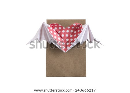 Colorful origami Red Polka dots heart with wings paper craft and a card for writing you own message for Valentine's day or special events isolated on white background - stock photo
