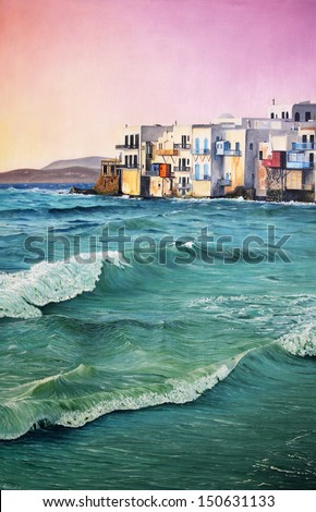 Colorful original oil painting of a seascape - stock photo
