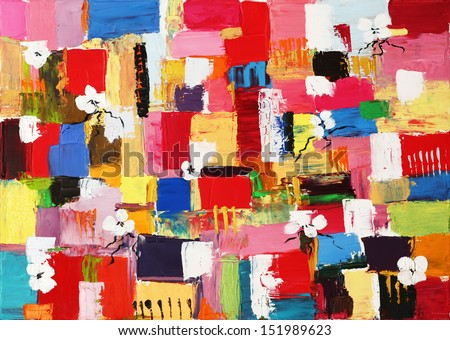 Colorful original oil painting of abstract shapes and square patterns - stock photo