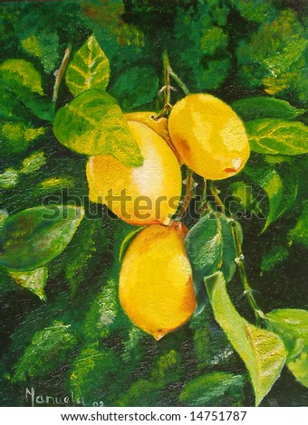 Colorful original oil painting showing lemons hanging on the tree - stock photo