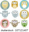 colorful owls with nine color combinations. Raster - stock photo