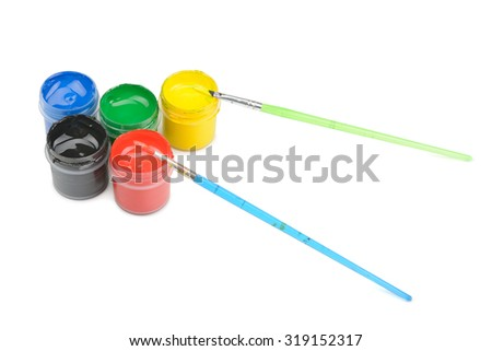 colorful paint isolated on white - stock photo