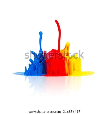 Colorful paint splash - stock photo