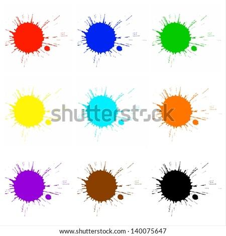 Colorful paint splashes - stock photo