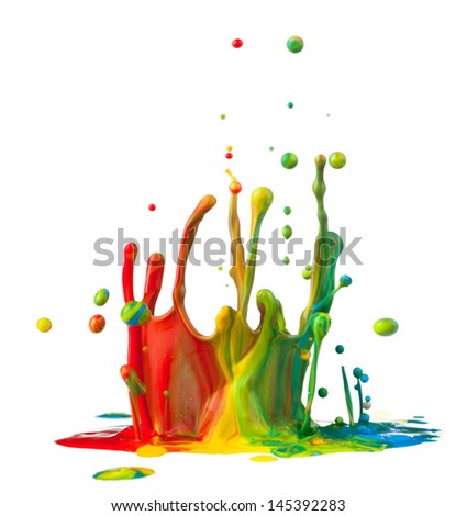 Colorful paint splashing on white background - stock photo