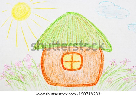 colorful painted house with a pencil on a white background - stock photo