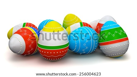 Colorful painted in neon colors modern easter eggs. Isolated on white background - stock photo