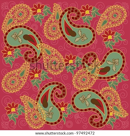 Colorful Paisley in Pink Background - stock photo