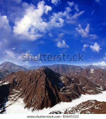 colorful panorama of mountains - stock photo