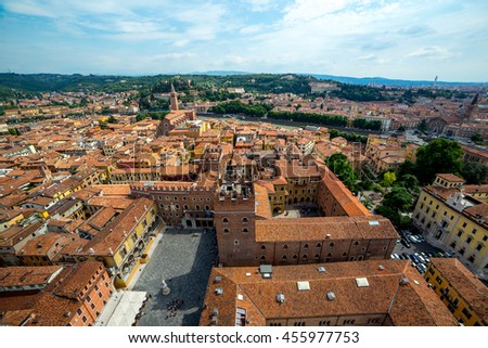 Colorful panoramic view of Verona - stock photo