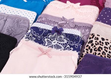 Colorful panties closeup picture. - stock photo