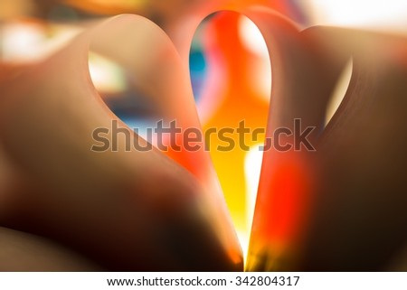 Colorful paper abstraction made with curved paper sheets and colorful lights. - stock photo