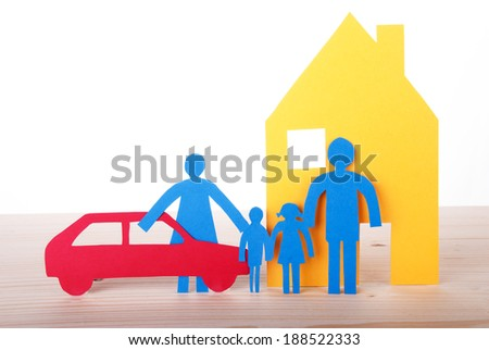 Colorful Paper Chain Family with Car and House, Isolated - stock photo