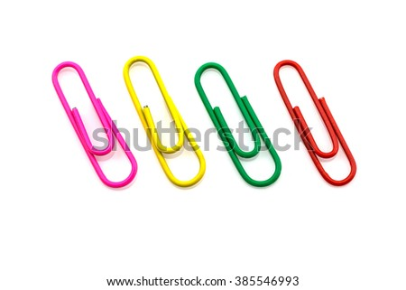 Colorful paper clips isolated on white background - stock photo