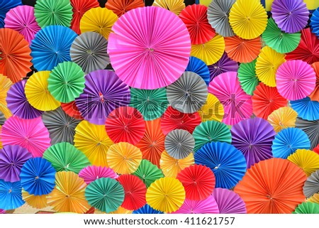 Colorful Paper folding multicolored abstract for background. - stock photo