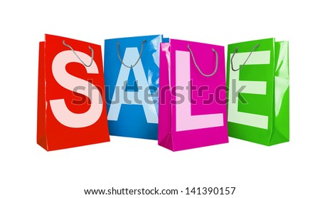 Colorful paper shopping bags isolated on white - stock photo