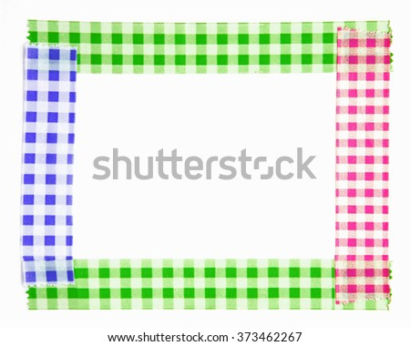 colorful paper tape border on white background - stock photo