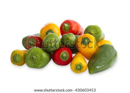 Colorful paprika isolated on white background - stock photo