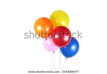 Colorful party balloons on white background - stock photo