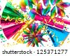 colorful party decoration garlands, streamer, cracker, hats and confetti. festive background - stock photo