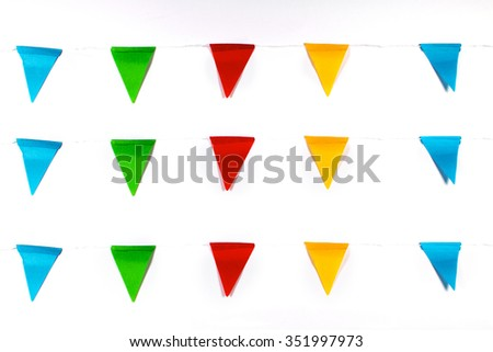 Colorful Party Flags Isolated on White Background. - stock photo