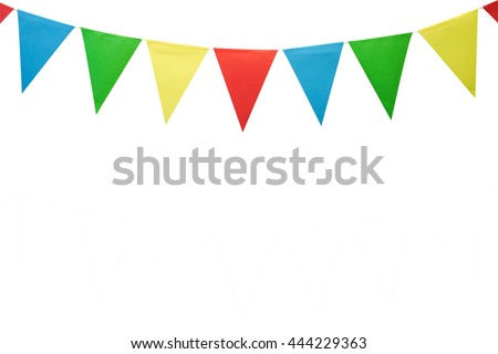 colorful party flags made of paper isolated on white background with clipping path - stock photo