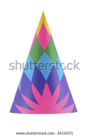 Colorful party hat with geometric design isolated on white - stock photo
